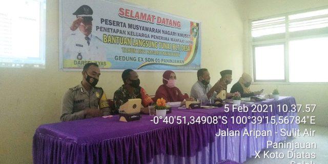 Babinsa Koramil 05 Tanjung Balik Hadiri Musnagsus Dalam Penerimaan BLT DD 2021