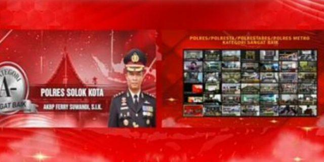 Polres Solok Kota Salah Satu Penerima Penghargaan Kategori Layanan Publik Sangat Baik Dari 40 Polres Lainya di Indonesia Dari Kemenpan RB